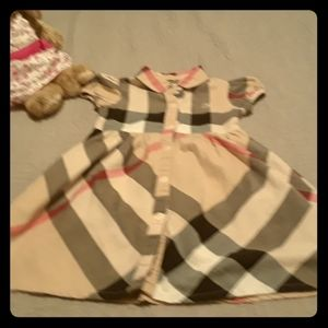 Classic Burberry Girl's Dress- Pale Checkers